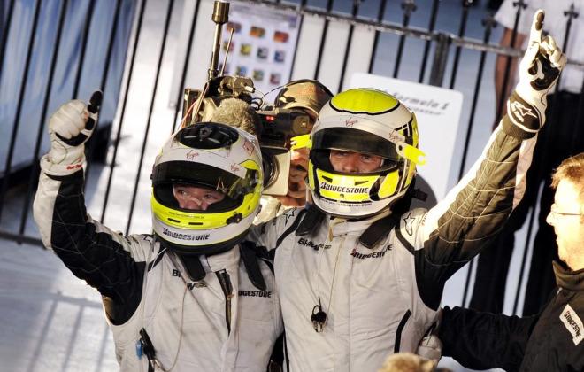 Button -derecha- y Barrichelo -izquierda-