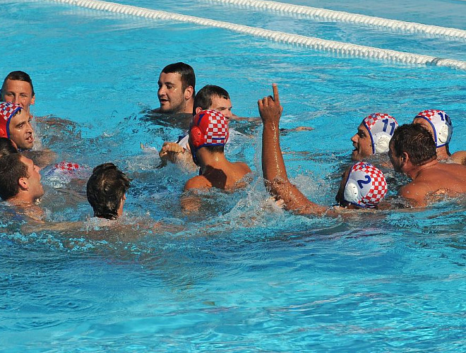 Los jugadores croatas celebran el bronce