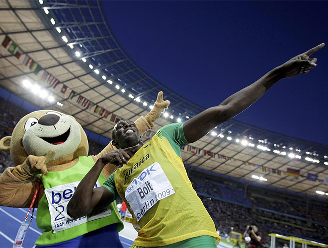 Bolt y la mascota de Berl�n