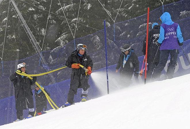 Operarios antes del Slalom