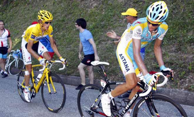 Andy no se despeg� de la parte trasera de la bicicleta de Contador. Una estrategia demasiado defensiva la del luxemburgu�s en el d�a de hoy.