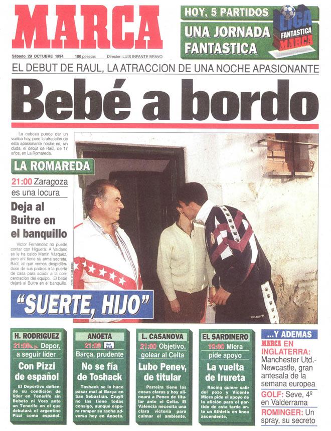 Ra�l, titular contra el Real Zaragoza. Valdano se atrevi� a darle la alternativa a un chaval de 17 a�os.