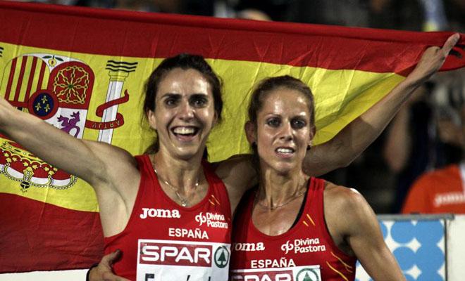 Las chicas del 'milqui' emularon a sus colegas de la prueba masculina y lograron un doblete hist�rico para el atletismo espa�ol. Nuria Fern�ndez consigui� el oro y Natalia Rodr�guez, la plata.
