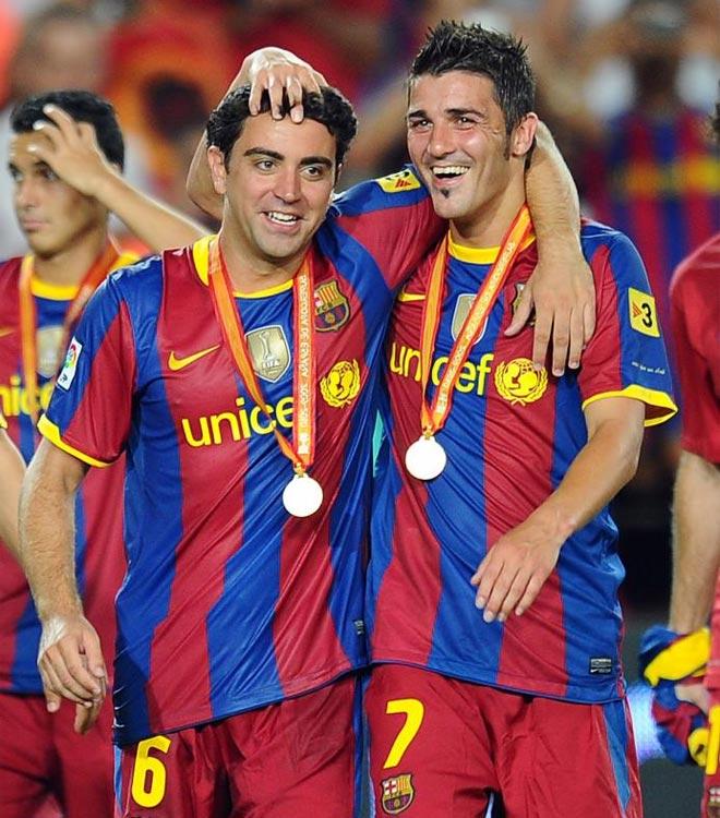 El asturiano debut� con la camiseta del Barcelona y celebr� su primera corona como azulgrana. El '7' se lo pas� en grande.