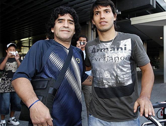 Diego Armando Maradona con Sergio, el 'Kun', Ag�ero