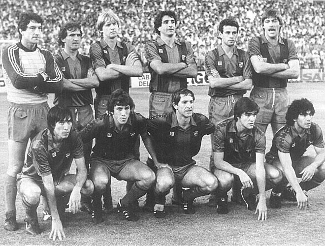 Maradona recal� en el equipo azulgrana en 1982 tras el Mundial de Espa�a y all� coincid� con otras figuras como Schuster o V�ctor Mu�oz