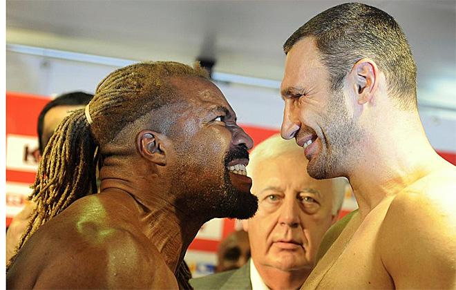 """El estadounidense Shannon """"The Cannon"""" Briggs intentar� arrebatar al ucraniano Vitali Klitschko su corona de campe�n de los pesado del Consejo Mundial de Boxeo (CMB). Su primer paso ha sido intimidarle en el pesaje."""