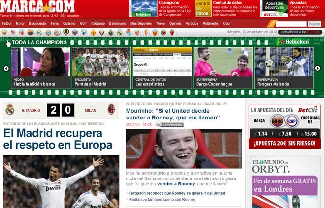 MARCA.com destac� que con el triunfo del Real Madrid ante el Milan el equipo blanco recupera el respeto de Europa.