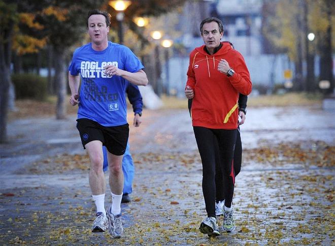 El primer ministro brit�nico, David Cameron, y el presidente espa�ol Jos� Luis Rodr�guez Zapatero salieron a correr por la ma�ana en Se�l, donde se celebra la cumbre del G-20.