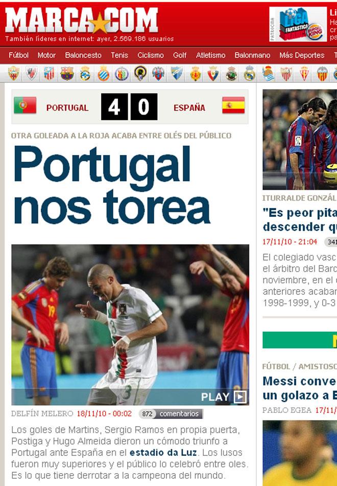 MARCA.com titula 'Portugal nos torea: Espa�a da el cante en Lisboa'