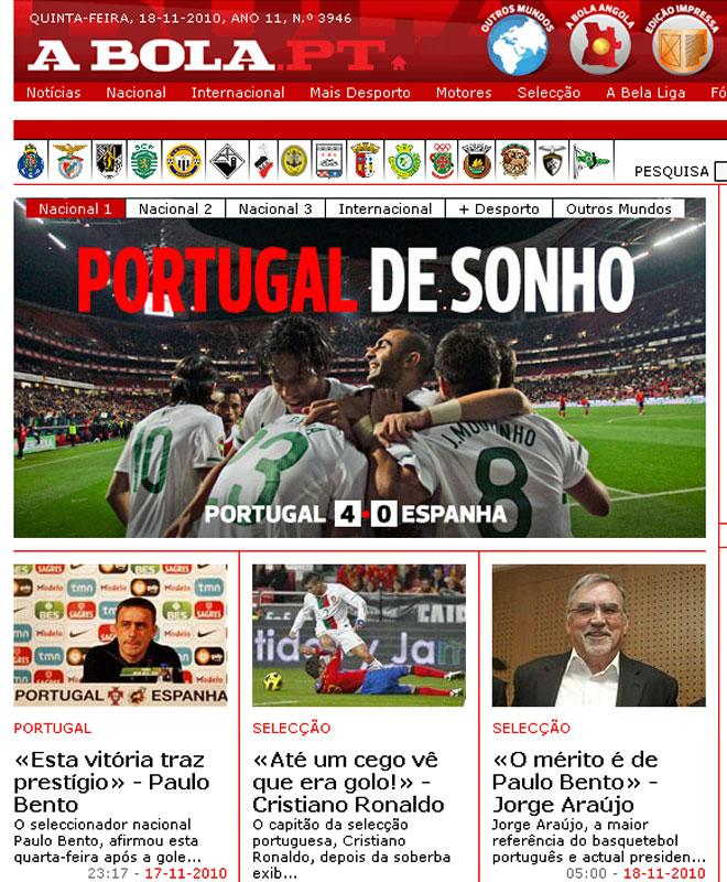 El web de 'A Bola' portugu�s titula: 'Portugal de ensue�o'.