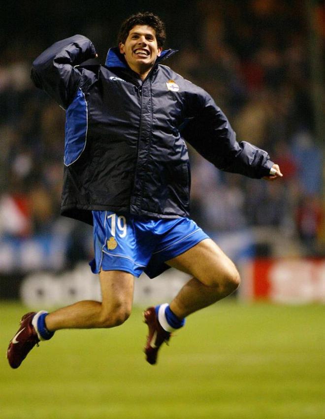 Albert Luque fue uno de los goleadores del partido de vuelta y estall� de alegr�a nada m�s terminar el final del encuentro.