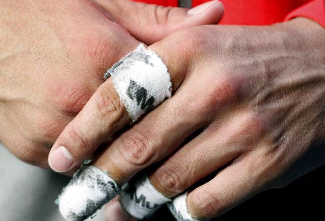 As� ten�a Rafa Nadal las manos tras derrotar a Ryan Sweeting en segunda ronda del Open de Australia.