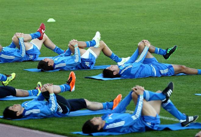 La selecci�n nipona se ejercita en Doha antes de jugar las semifinales de la Copa de Asia 2011.
