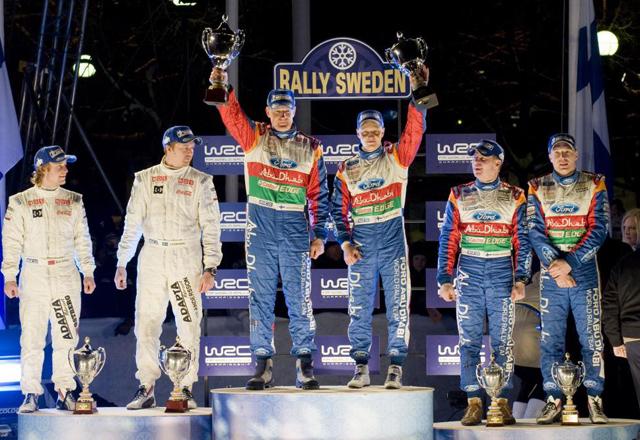 1º Hirvonen-Lehtinen, 2º Ostberg-Andersson y 3º Latvala-Anttila.