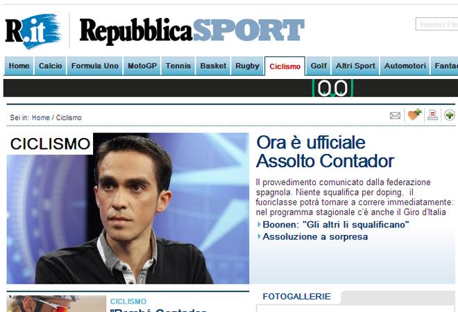 """'Ahora es oficial. Absuelto Contador'. Así titula el rotativo italiano 'La Repubblica' en su edición digital. """"No hay sanción por dopaje. El campeón volverá a la competición inmediatamente""""."""