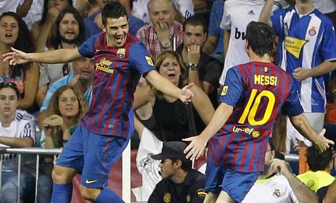 El Barça no había pisado el área de Casillas y no le hizo falta. Desde fuera del mismo, espectacular zapatazo de Villa para helar el Bernabéu.
