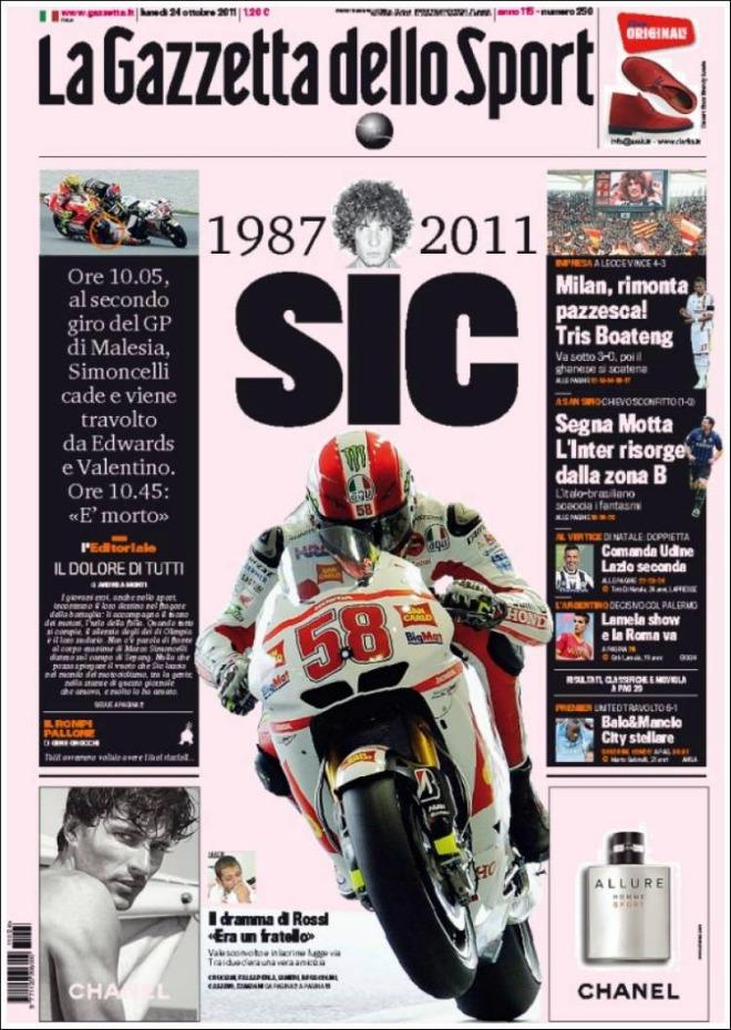 La prensa italiana llora la muerte de Marco Simoncelli en Sepang.