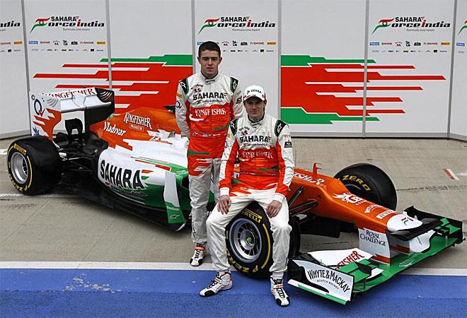 El nuevo arma de Force India, el VJM05, se presentó en el circuito de Silverstone, con sus pilotos Paul di Resta y Nico Hulkenberg.