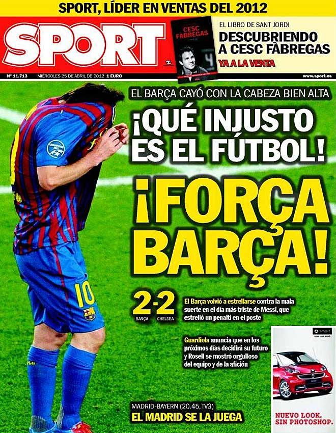 Para 'Sport', el f�tbol no fue justo con el Barcelona.