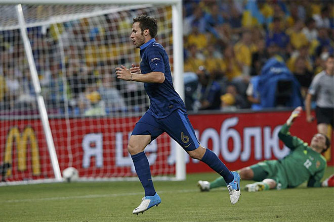 Cabaye celebra su gol ante Ucrania, que supon�a el 0-2.