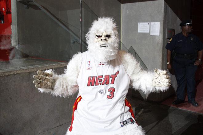 Un salvaje copito de nieve en versi�n Heat preparado para animar a su equipo durante las Finales de la NBA contra los Thunder.