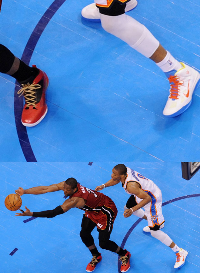 'Flash' tiene su propia l�nea de zapas, adem�s con 'pedigree', puesto que es uno de los jugadores que forman parte de Jordan Brand con modelo propio, con las 'Air Jordan Fly Wade 2'. Por su parte, el base de los Thunder, a pesar de su estatus, no tiene l�nea propia y se tiene que 'conformar' con las Nike 'Hyperfuse 2011', el modelo m�s com�n entre los jugadores de Nike. Tenemos ventaja para el escolta de Miami.