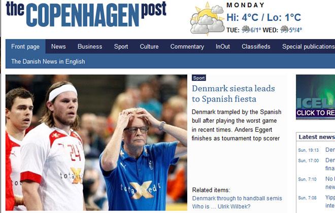 """The Copenhagen Post afirma que """"Dinamarca fue pisoteada por el toro espa�ol""""."""