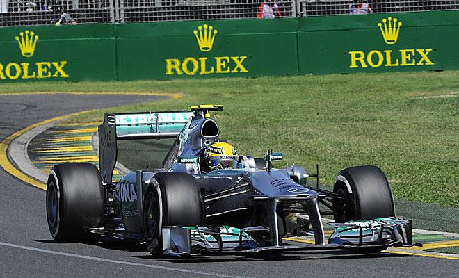 El Mercedes de Hamilton dijo basta al final de la sesión. Se le acabaron los frenos.