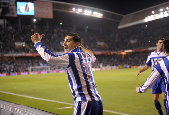 El delantero de Aranjuez abrió el marcador en el derbi a pase de Valerón.