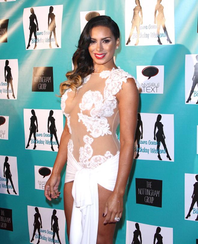 Laura Govan llegando a su fiesta de cumplea�os en Beverly Hills organizada por Gilbert Arenas.