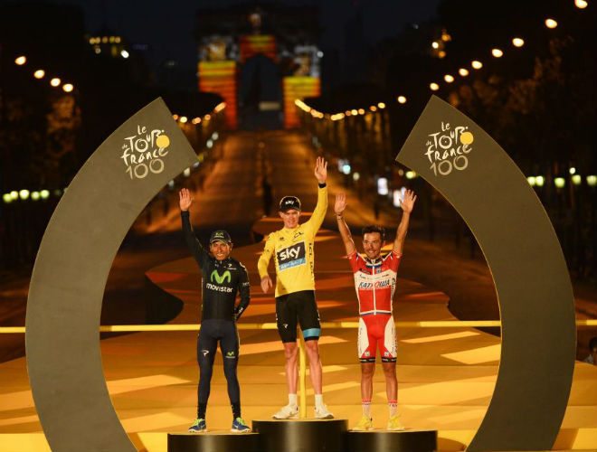 Froome como primero, Quintana segundo y 'Purito' tercero completaron el podio del Tour de Francia 2013 en su edici�n n�mero 100.