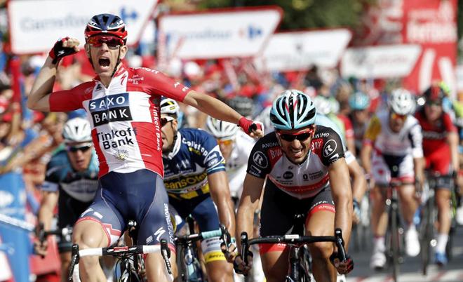 Morkov (Saxo) superó en la meta a Richeze (Lampre) y al suizo Cancellara (Radioshack).