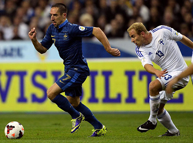 France won over Finland at the Stade de France in Saint-Denis. Franck Rib�ry scored the first goal.