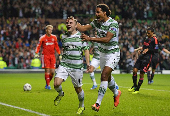 Forrest celebrates his goal for Celtic.