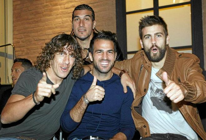 Puyol, Cesc, Piqu� y Pinto no quisieron perderse la entrega de la Bota de Oro a Messi.