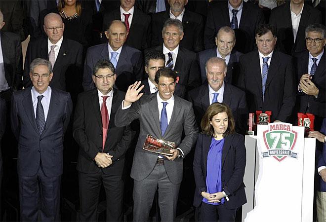 Rafa Nadal fue el gran protagonista de la gala. Recibió el premio La Leyenda que le acredita como el mejor deportista español de la historia.