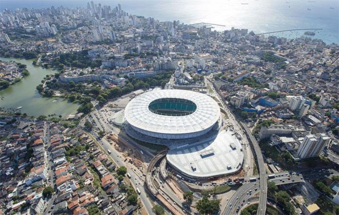 El Arena Fonte Nova tambi�n ser� utilizado para el Mundial de Brasil y para los pr�ximos Juegos Ol�mpicos de 2016 para varios partidos de f�tbol. Est� ubicado en la ciudad de Salvador, en el estado de Bahia, y su construcci�n cost� m�s de 225 millones de euros.