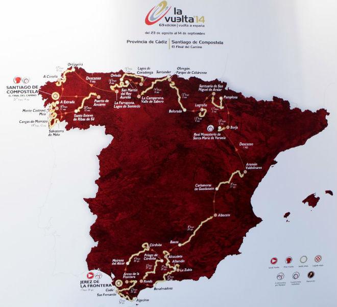 La Vuelta a Espa�a 2014 cuenta con ocho finales en alto y tres pruebas contra el crono.