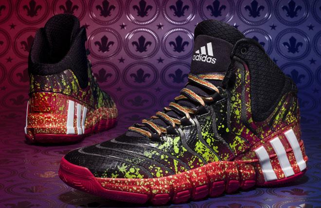 El color y la diversi�n se contagian a las zapatillas que llevar�n algunas de las estrellas en el All Star Weekend de Nueva Orleans. La influencia del Mardi Gras se nota en el dise�o.
