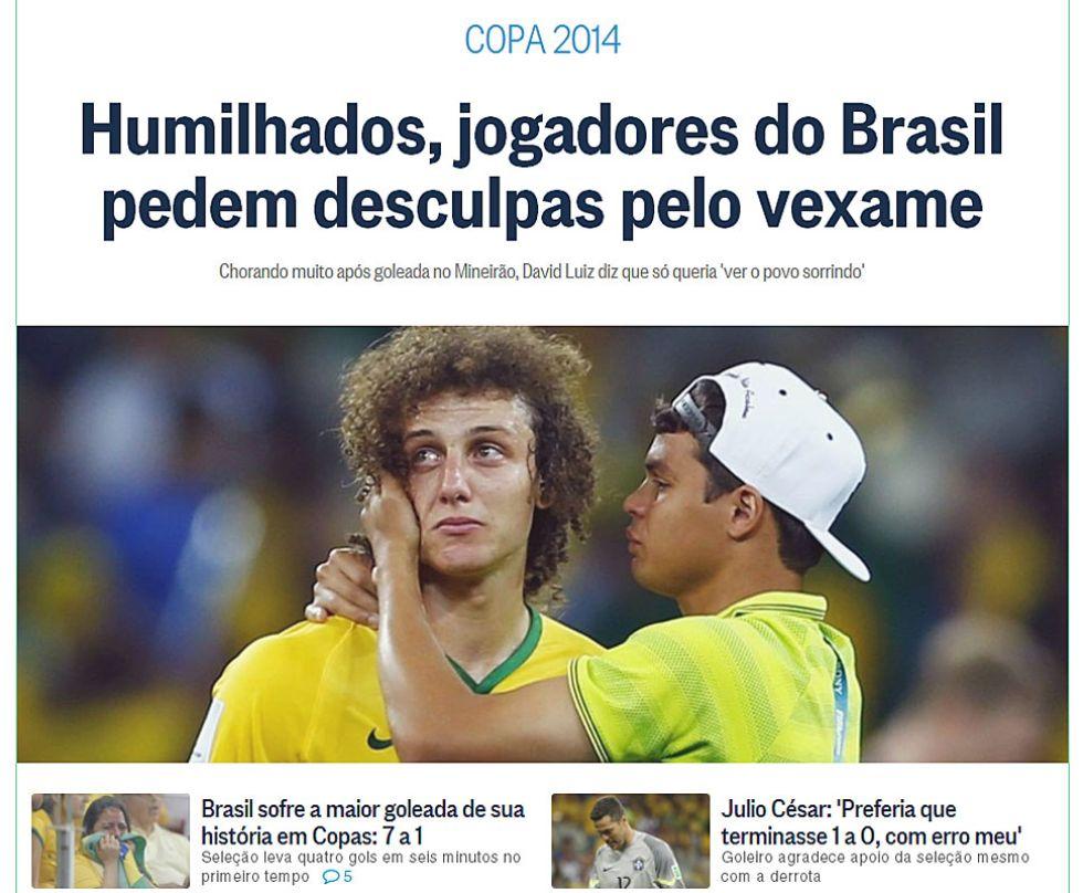 El diario O Globo destaca la reacci�n de los jugadores brasile�os.