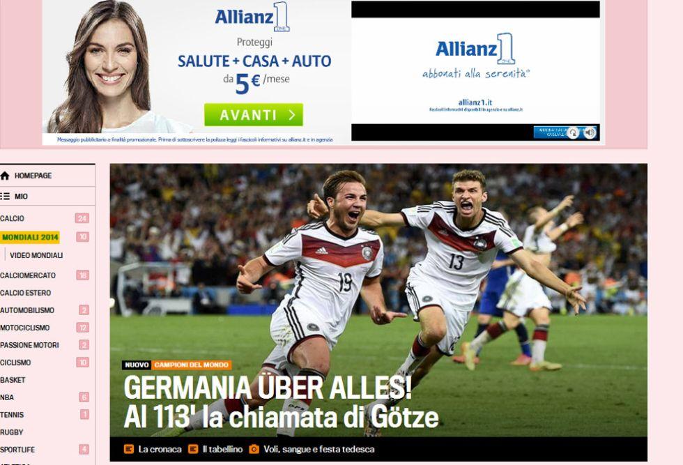 LA GAZZETTA DELLO SPORT: G�tze llam� a Alemania campeona del mundo en el minuto 113. El jugador del Bayern hizo de Iniesta.