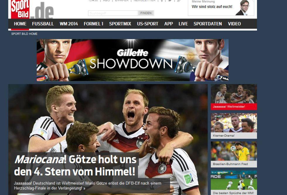 SPORTBILD: En Alemania tambi�n jugaron con el nombre de pila de G�tze y Maracan�. Mario llev� a los alemanes hacia su cuarta estrella.