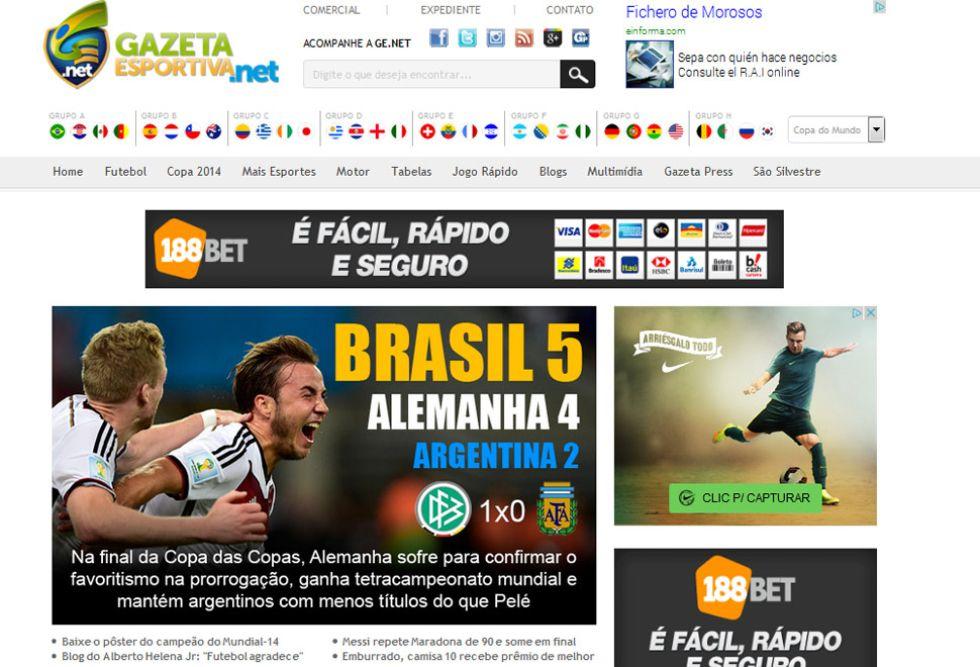 """GAZETA ESPORTIVA: Esta web brasile�a recuerda c�mo queda ahora el palmar�s del Mundial. Y lo hace dejando un detalle: """"Los argentinos, con menos t�tulos que Pel�""""."""