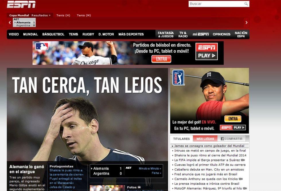 ESPN: En Argentina lo vieron tan cerca... Se les qued� la misma cara que a Leo Messi.