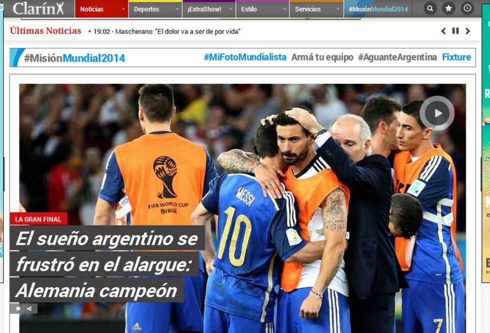 CLAR�N: En Argentina lamentan lo que ocurri� en la pr�rroga.