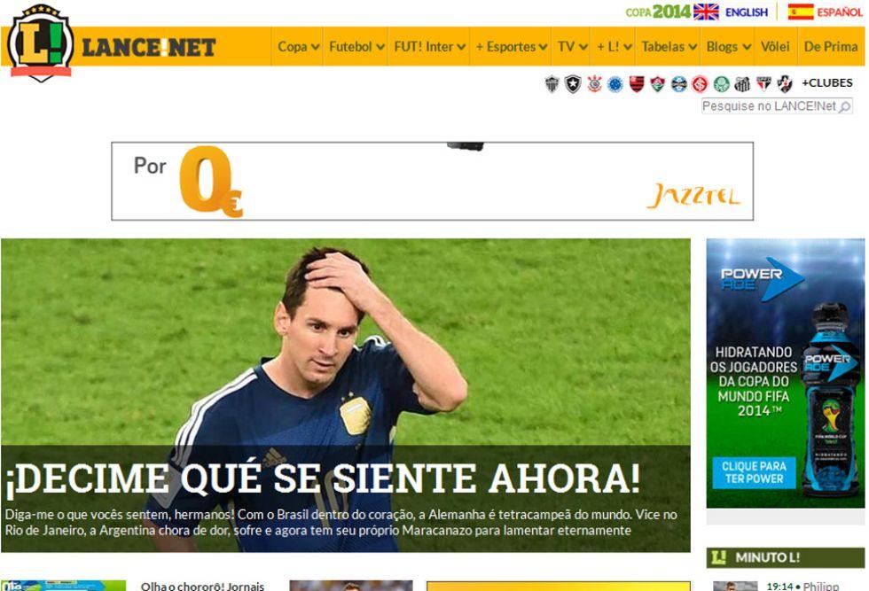 LANCE: Esta web brasileña se vengó de los cánticos argentinos durante todo el Mundial, los que se acordaban de Brasil.