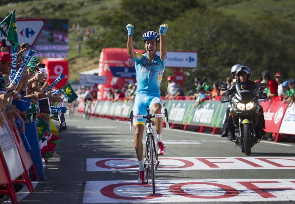 Fabio Aru se estren� en una Vuelta a Espa�a y lo hizo en un puerto in�dito como fue el del Santuario de San Miguel de Aralar, en Navarra.