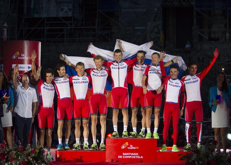 El Katusha ruso de Purito Rodr�guez, Dani Moreno y Caruso subi� al podio como mejor equipo de esta edici�n.