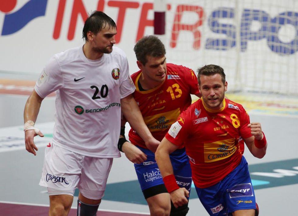 V�ctor Tom�s celebra un gol que dio la tranquilidad a Espa�a